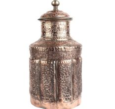 Carved Floral  Copper Cylindrical Storage Jar With Lid Finial