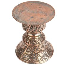 Copper Spittoon Table With Floral Motifs