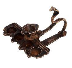Brass Arti Worship Diya With Cobra Snake handle