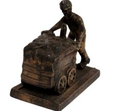 Brass Miner Statue  Pushing Coal On Wooden Plinth