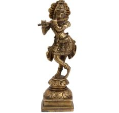 Brass Krishna Idol Statue Playing Flute For Worship