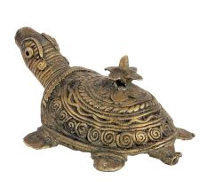 Tribal Brass Turtle With Flower On Back