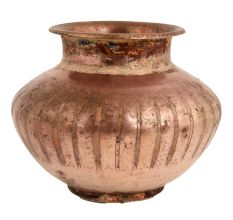 Copper Fluted Design Holy Water Pot