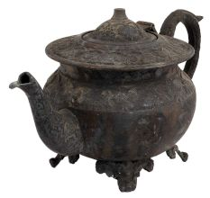 Black Brass Tea Pot With Big Handle