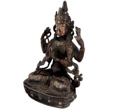 Brass Goddess Tara Seated On Lotus Throne