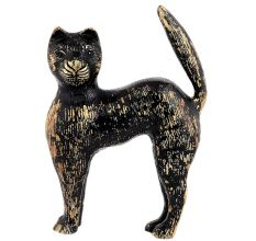 Black Cat In Brass Figurine Statue With Golden Decoration