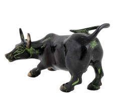 Brass Raging Bull Statue In Black Finish
