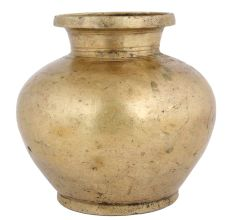Golden Brass Rounded Body Water Storage Pot