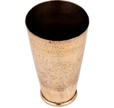 Brass Lassi Glass With Faded Design Carved Rings On the Rim