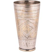 Brass Glass Leaves Carved Design Highlighted With Golden Bands