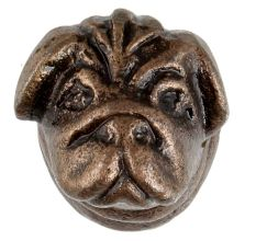 Antique Bull Dog Iron Cabinet Knob