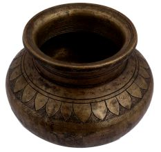 Brass Holy Water Pot With God Image And Floral Border