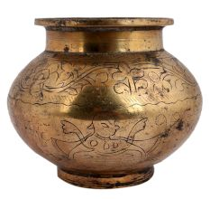 Brass Water Pot Engraved God Image And Floral Border