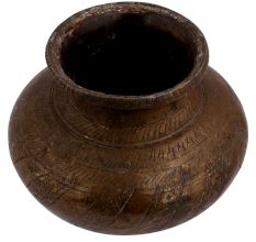 Old Brass Holy Water Pot With Floral Stripe Design