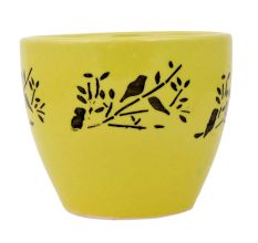 Ceramic Pot Hand painted With Yellow And Black With Small Birds On Branch