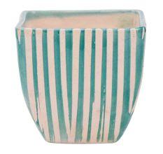 Hand painted Blue Stripe Design Ceramic Pot For Interior Design