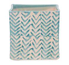 Square Ceramic Pot With Blue Chevron Zig Zag Pattern