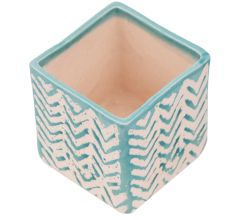 Square Ceramic Pot With Hand painted White And Blue Chevron Zig Zag Pattern