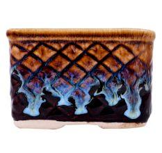 Blue Flame Brown Square Shape Ceramic Pot
