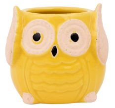 Cute Yellow Owl Ceramic Pot Planter