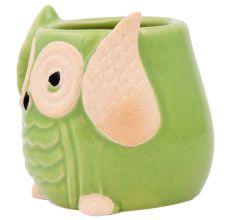 Cute Green Owl Ceramic Pot Planter