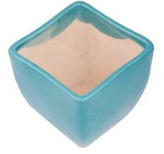 Handmade Blue Ceramic Pot With Square Top