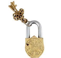 Brass Padlock With Religious Chand Tara Design With 2 Keys