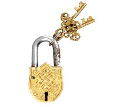 Religious Chand Tara Deign Brass Padlock With 2 Keys