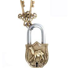 Brass Padlock With Camel Engraved Design And 2 Keys
