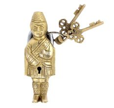 Indian Solider Design Brass Lock With 2 Decorative Keys