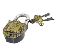Brass Padlock Ram Durbar With 2 Decorative Keys Painted With Yellow Color