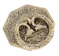 Brass Ornate Plate Elephant Motif Ring Door Knocker