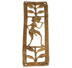 Luxurious Brass Metal Artwork Depicting A Man With A Flute