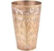 Brass Leaf Pattern Border Design Lassi Glass