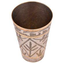 Brass Lassi Glass Black Leaf Pattern With Golden Design