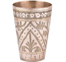 Brass Leafy Arch Pattern Lassi Serving Glass