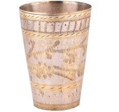 Brass Faded Leafy Design Punjabi Lassi Serving Glass