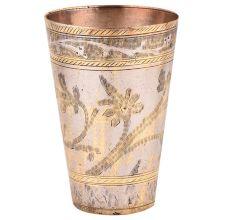 Carved Leaf And Golden Bands Design On Brass Lassi Glass