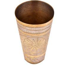 Brass Punjabi Lassi Glass With Big Flower In Centre