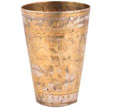 Brass Lassi Glass Faded Floral Pattern