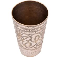 Etched Jai Hind Leaves Brass Lassi Glass