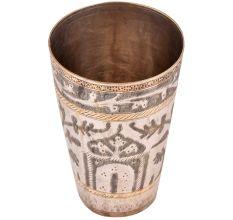 Faded Mogul Design Carved Brass Lassi Glass