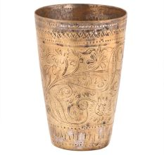 Lovely Floral Pattern Etched Brass Lassi Glass