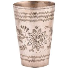 Carved Big Flower And Wavy Lines Design Brass Lassi Glass