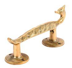 Brass Engraved Design Peacock Door Handle