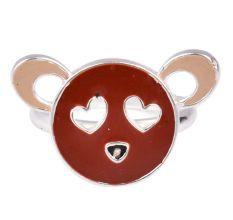 Heart Eye Brown Bear Face Adjustable Silver Children Toe Ring