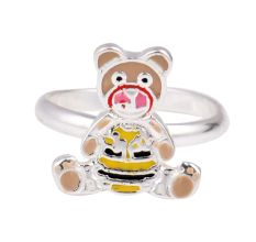 Children's Colorful Silver Bear Adjustable Toe Ring