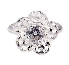 Silver Flower Design And Open Wrap Toe Ring