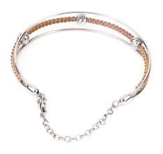 Multi Layered 92.7-Sterling Silver Bracelet With Gold Plated Rope Bangle