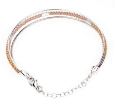 Three Tone Rope Design Bangle with 92.7 Sterling Silver Bracelets